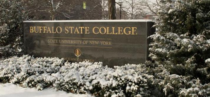 Buffalo State Signage in Winter